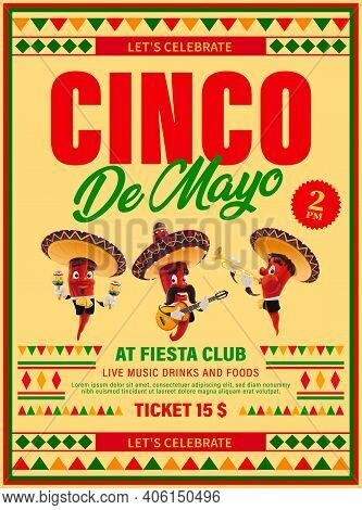 Cinco De Mayo Vector Flyer, Mexican Jalapenos Mariachi Band Red Hot Chili Peppers Wear Sombrero Play