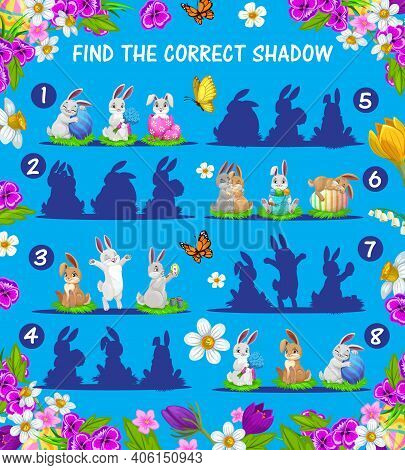 Kids Game Of Find And Match Shadows Of Vector Easter Bunnies And Eggs. Children Education Memory Puz