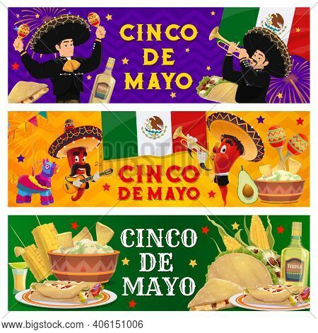 Cinco De Mayo Holiday Mexican Fiesta Party Banners, Vector Peppers With Mustaches In Sombrero. 5 May