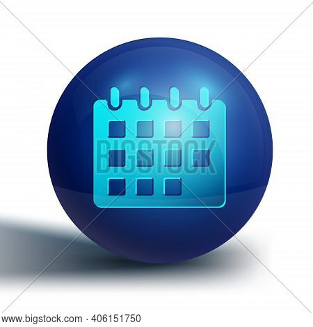 Blue Calendar Icon Isolated On White Background. Event Reminder Symbol. Blue Circle Button. Vector