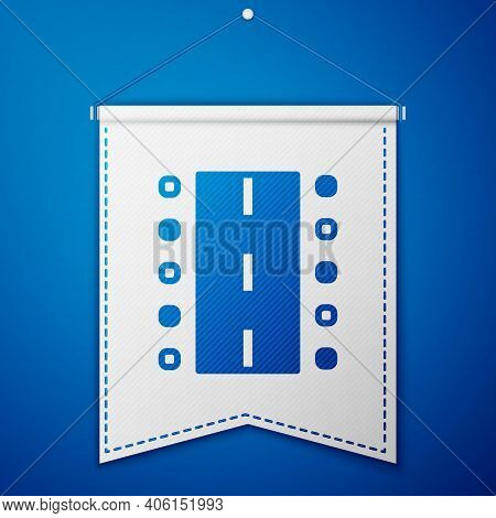 Blue Airport Runway For Taking Off And Landing Aircrafts Icon Isolated On Blue Background. White Pen