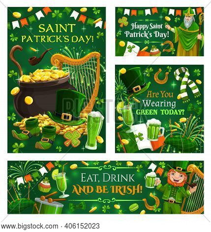 Motto Of Saint Patricks Day, Eat, Drink And Be Irish, Religion Ireland Holiday, Green Color Symbols.