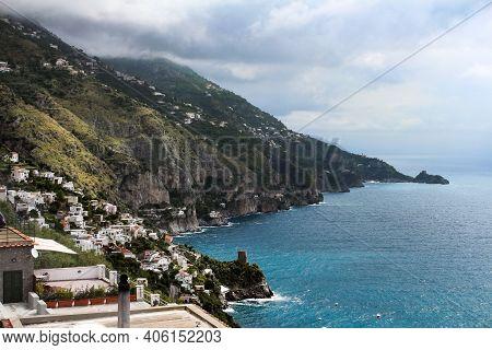 Stunning View Of The Beautiful Amalfi Coast From A Terrace, Campania, Italy