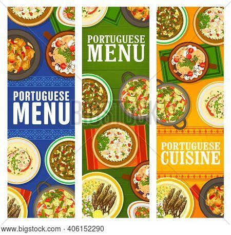 Portuguese Cuisine Restaurant Menu Dishes Banners. Pork Tenderloin, Bacalhau A Bras Cod Fish, Sausag