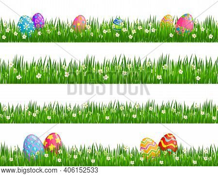 Easter Egg Hunt Vector Borders With Easter Eggs, Spring Green Grass Blades And Blooming White Flower