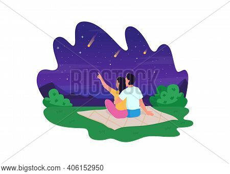Naked Eye Stargazing 2d Vector Web Banner, Poster. Lovely Couple Looking At Beautiful Stars Falling