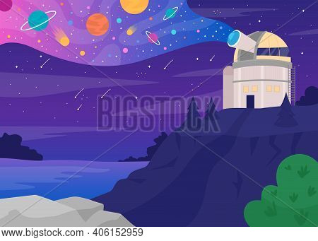 Astronomical Observatory Flat Color Vector Illustration. Structure Containing Telescopes And Auxilia