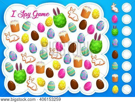 Easter I Spy Game Or Puzzle Vector Template Of Kids Education. Counting Game Or Logic Riddle Workshe