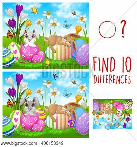 Kids Game Find Ten Differences With Easter Rabbits And Eggs. Vector Puzzle With Cute Cartoon Bunnies