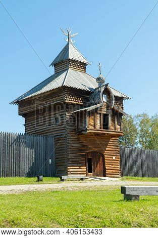 Russia, Irkutsk, August 2020: Irkutsk Architectural And Ethnographic Museum Of Taltsy. Wooden Tower.