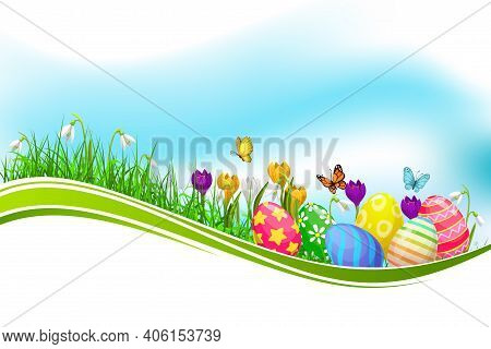 Easter Eggs Green Grass Wave, Vector Design Element With Spring Flowers On Grass Blades And Flying B