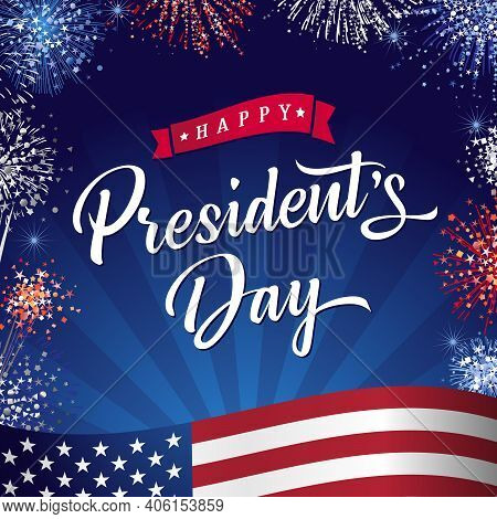 Happy President's Day Banner, With Flag And Fireworks On Beams Sky Background. Vector Illustration W