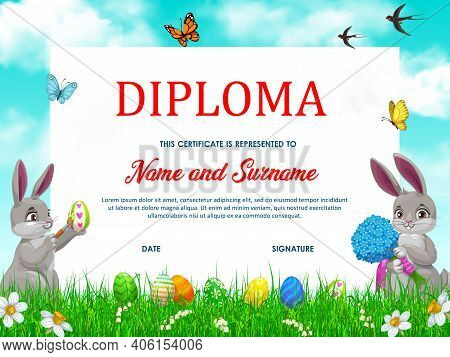 Preschool Diploma Or Certificate Template, Vector Kids Education. Elementary School Or Kindergarten