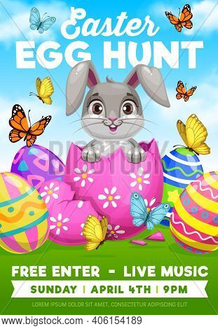 Easter Egg Hunt Bunny Vector Flyer Of Religion Holiday Party. Cartoon Rabbit Or Hare Animal Hiding I