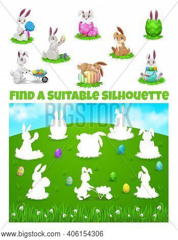 Kids Game Of Find Correct Shadows Of Easter Egg Hunt Vector Template. Children Education Worksheet,