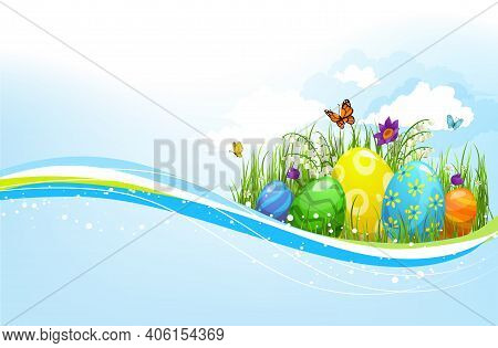 Easter Eggs Green Grass Vector Wave. Isolated Design Element With Spring Flowers On Grass Blades, Bu