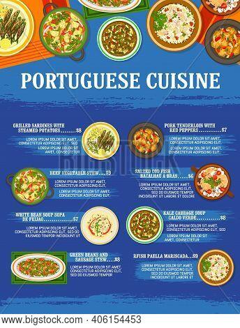 Portuguese Cuisine Restaurant Meals Menu Template. Grilled Sardines, Beef And Sausage Stew, Pork Ten