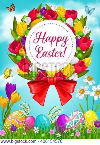 Easter Eggs And Flower Wreath, Religion Holiday Vector Greeting Card. Easter Painted Eggs On Green G