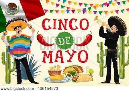 Cinco De Mayo Fiesta Mariachi And Mexican Food Vector Design. Cartoon Musicians With Sombrero Hats,