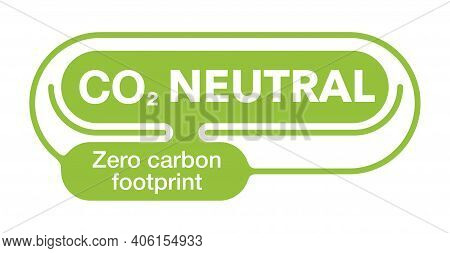 Co2 Neutral. Green Badge, Net Zero Carbon Footprint - Carbon Emissions Free No Air Atmosphere Pollut