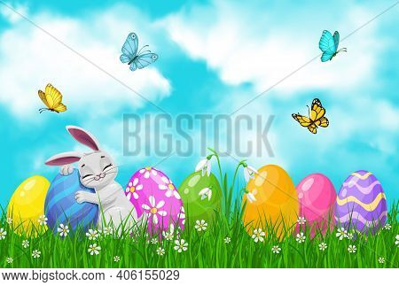 Easter Egg Hunt Vector Bunny Or Rabbit With Eggs On Spring Grass Field With Green Blades And Bloomin