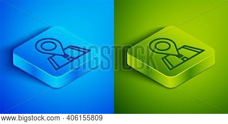 Isometric Line Map Pin Icon Isolated On Blue And Green Background. Navigation, Pointer, Location, Ma