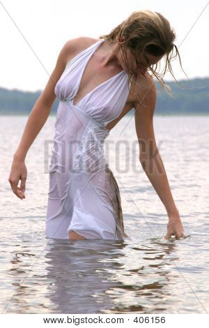 Blond Standing In Wet Dress