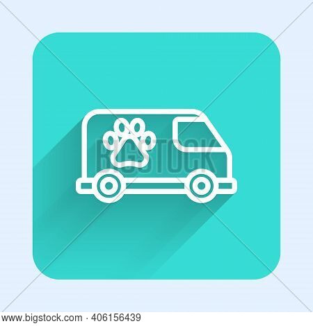 White Line Veterinary Ambulance Icon Isolated With Long Shadow. Veterinary Clinic Symbol. Green Squa
