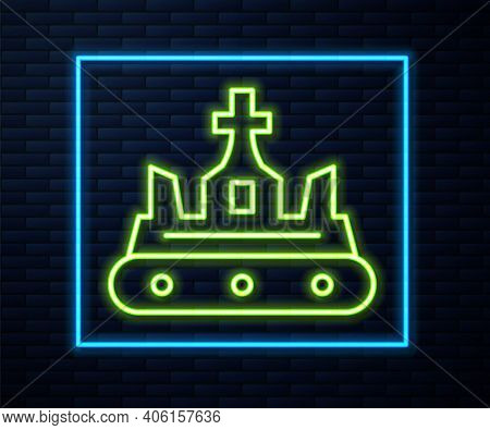 Glowing Neon Line British Crown Icon Isolated On Brick Wall Background. Vector
