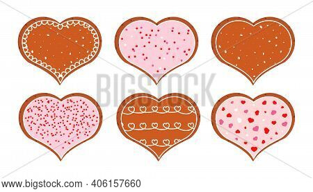 Gingerbread Cookies For Valentines Day Cartoon Set. February Dessert Treat In Shape Heart Decorated