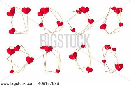 Set Of Abstract Polygonal Geometric Gold Frame With Red Heart. Template Empty Text Banner For Valent