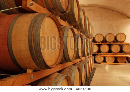 Row Of Wine Barrels