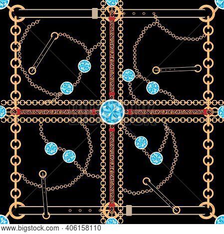 Vector Seamless Pattern Of Baroque Trend, Golden Chain With Blue Topaz Stone, Leather Leopard Print