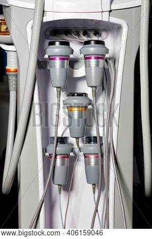 A Set Of Various Instruments For Liposuction And Body Massage Is Used For The Correction Of A Human