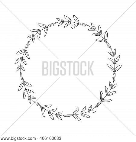 A Simple Wreath Of Twigs And Leaves. Decorative Border In A Linear Style. Elegant Frame For Logo, Ta