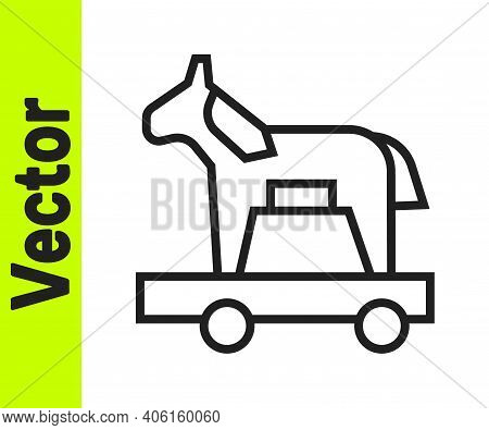 Black Line Trojan Horse Icon Isolated On White Background. Vector