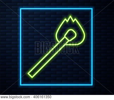Glowing Neon Line Burning Match With Fire Icon Isolated On Brick Wall Background. Match With Fire. M