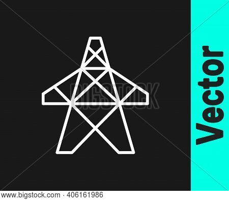 White Line Electric Tower Used To Support An Overhead Power Line Icon Isolated On Black Background.
