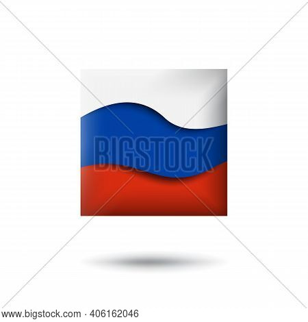 Russia Flag Icon In The Shape Of Square. Waving In The Wind. Abstract Waving Russia Flag. Russian Tr