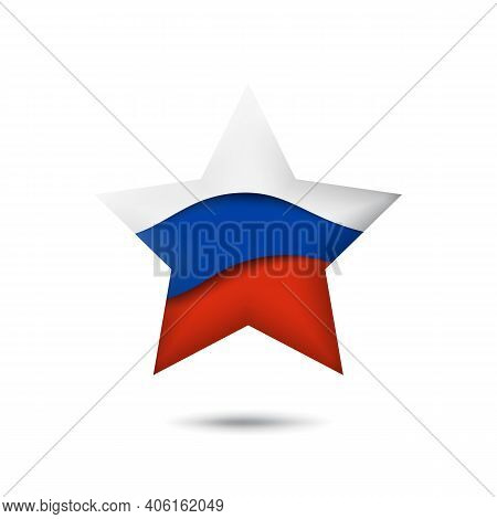 Russia Flag Icon In The Shape Of Star. Waving In The Wind. Abstract Waving Flag Of Russia. Russian T