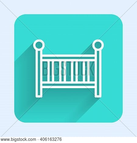 White Line Baby Crib Cradle Bed Icon Isolated With Long Shadow. Green Square Button. Vector