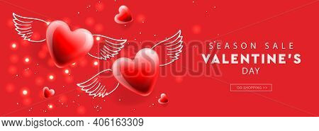 Valentines Day Sale. Web Banner Template With Red Winged Hearts Background. Vector Illustration