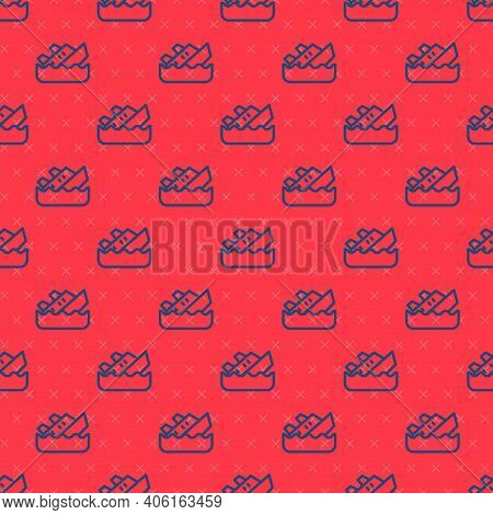 Blue Line Sinking Cruise Ship Icon Isolated Seamless Pattern On Red Background. Travel Tourism Nauti