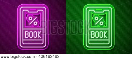 Glowing Neon Line Cruise Ticket For Traveling By Ship Icon Isolated On Purple And Green Background.