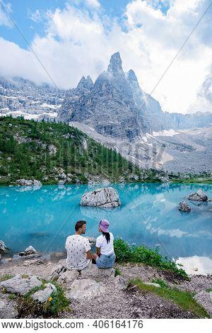 Beautiful Lake Sorapis Lago Di Sorapis In Dolomites, Popular Travel Destination In Italy. Blue Green