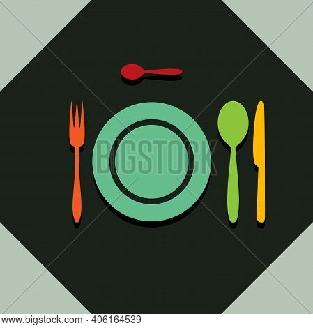 Cutlery In The Restaurant. Illustration Of Cutlery In A Restaurant As A Symbol Of Catering