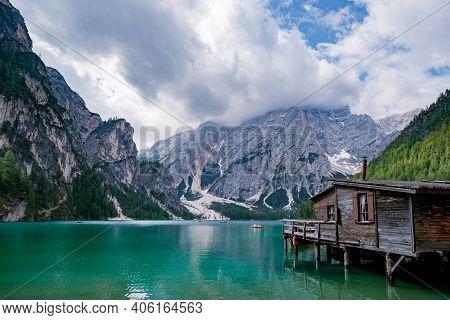 Beautiful Lake In The Italian Alps, Lago Di Braies In The Italian Dolomites Europe. Braies Lake, Ita