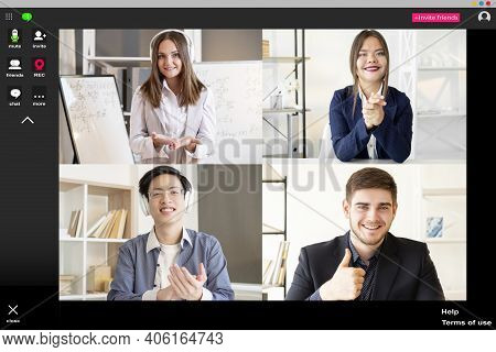 Online Education. Video Lesson. Group Chat. Internet Presentation. Female Teacher Working From Home