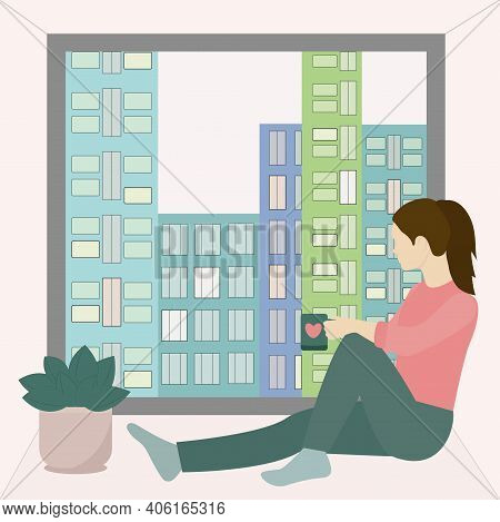 The Girl Sits By The Window And Drinks Coffee. Vector Of A Girl With A Cup At The Window, Dreaming A