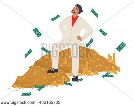 Rich Man Standing On Cash Money Pile, Flat Vector Illustration. Wealthy Businessman, Millionaire, Ha